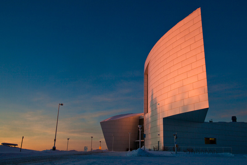 "The University of Alaska Museum of the North shines in an early February sunrise.  <div class=""ss-paypal-button"">Filename: CAM-12-3275-51.jpg</div><div class=""ss-paypal-button-end"" style=""""></div>"