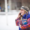 "Lacey Jane Brewster speaks on the phone coming from the Gruening Building at the first snowfall of the semester in mid-October 2012.  <div class=""ss-paypal-button"">Filename: CAM-12-3589-31.jpg</div><div class=""ss-paypal-button-end"" style=""""></div>"