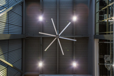 A view of the ceiling of the new engineering building's foyer.  Filename: CAM-16-4917-25.jpg
