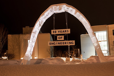 The 2012 ice arch stands temporarily lit up in Cornerstone Plaza.  Filename: CAM-12-3320-20.jpg
