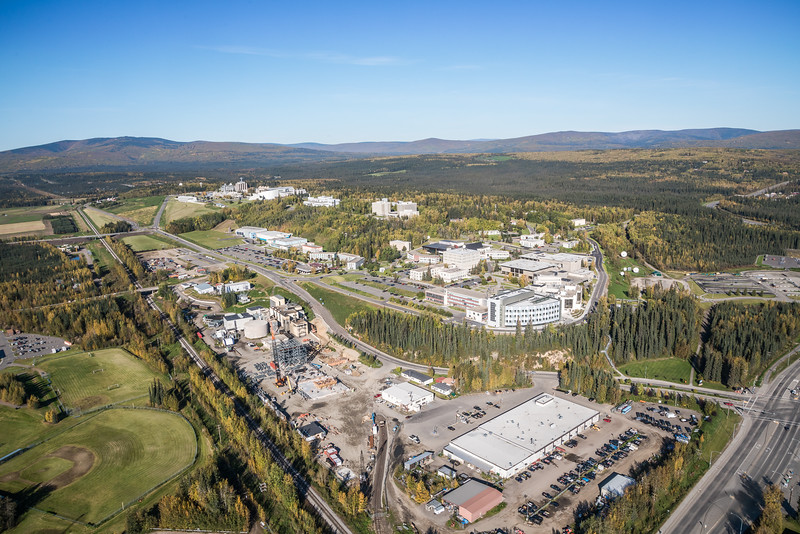 """An aerial view of UAF looking northwest at about 11:15 on Sept. 10, 2016, showing construction of the new combined heat and power plant being built adjacent to the existing unit which has been in use since the 1960s.  <div class=""""ss-paypal-button"""">Filename: CAM-16-4992-073.jpg</div><div class=""""ss-paypal-button-end""""></div>"""