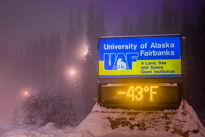 A frigid January morning on the Fairbanks campus as evidenced by the time and temperature sign on Alumni Drive.  Filename: CAM-13-3708-7.jpg