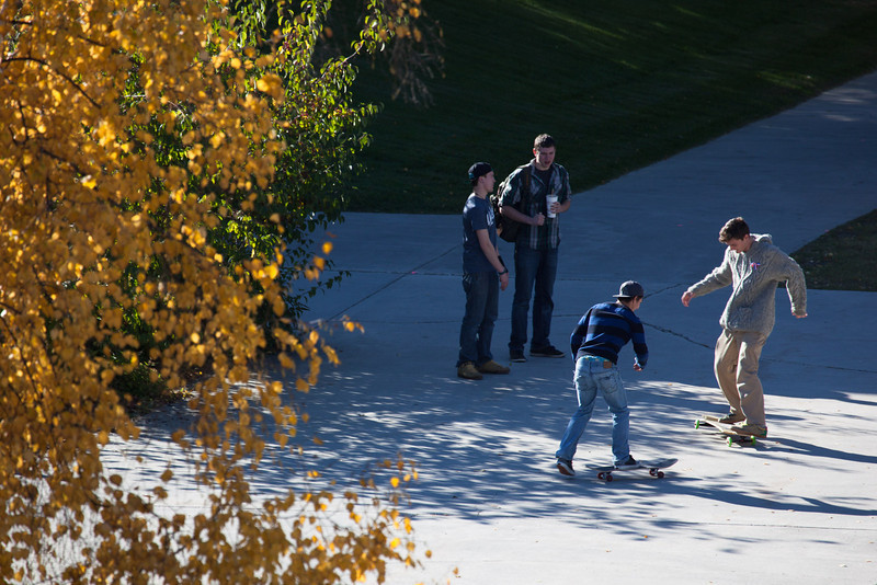 "Skateboarders perfect their tricks on campus on a sunny September afternoon.  <div class=""ss-paypal-button"">Filename: CAM-12-3543-30.jpg</div><div class=""ss-paypal-button-end"" style=""""></div>"