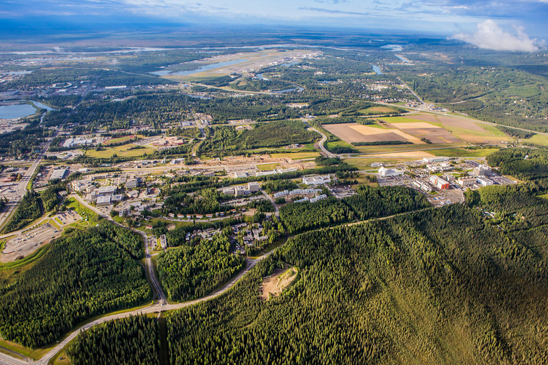 """The UAF campus sits on a hill north of the Fairbanks International Airport and the Tanana River, seen in the background.  <div class=""""ss-paypal-button"""">Filename: CAM-12-3497-142.jpg</div><div class=""""ss-paypal-button-end"""" style=""""""""></div>"""