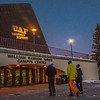 """UAF's """"Naturally Inspiring"""" branding tagline is projected onto the exterior of Wood Center.  <div class=""""ss-paypal-button"""">Filename: CAM-12-3657-8.jpg</div><div class=""""ss-paypal-button-end"""" style=""""""""></div>"""