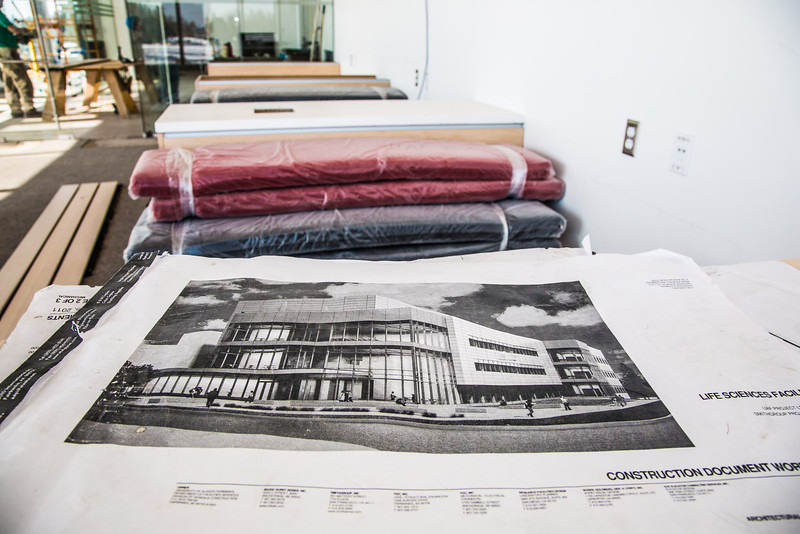 """Bench cushions are ready for deployment in one of the student lounge areas in the new Murie Building on UAF's West Ridge.  <div class=""""ss-paypal-button"""">Filename: CAM-13-3789-4.jpg</div><div class=""""ss-paypal-button-end"""" style=""""""""></div>"""