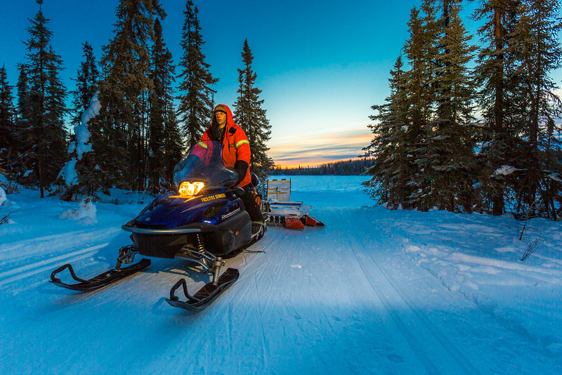 """Ski trails manager Jason Garron grooms the skate ski track on the UAF trails early on a cold February morning.  <div class=""""ss-paypal-button"""">Filename: CAM-16-4818-50.jpg</div><div class=""""ss-paypal-button-end""""></div>"""