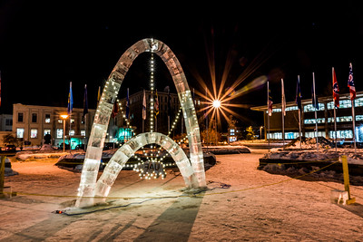 The traditional ice arch stands lit up in Cornerstone Plaza on the UAF campus in February 2016. The arch, designed and built by students with UAF's College of Engineering and Mines, is a tradition that dates back to the 1950s.  Filename: CAM-16-4817-10.jpg