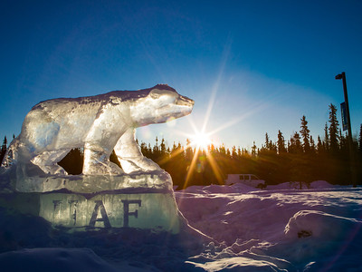 The Nanook ice sculpture greets visitors to campus from its home near the kiosk along Thompson Drive.  Filename: CAM-12-3327-04.jpg