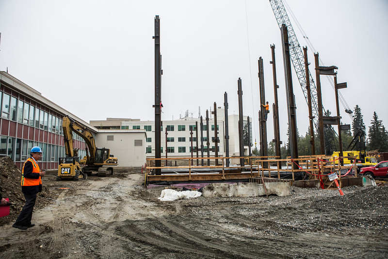 """Chancellor Brian Rogers takes a tour of the construction site of the Duckering Building's extension.  <div class=""""ss-paypal-button"""">Filename: CAM-13-3907-15.jpg</div><div class=""""ss-paypal-button-end"""" style=""""""""></div>"""