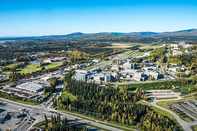 An aerial view of UAF looking west at about 11:15 on Sept. 10, 2016.  Filename: CAM-16-4992-044.jpg