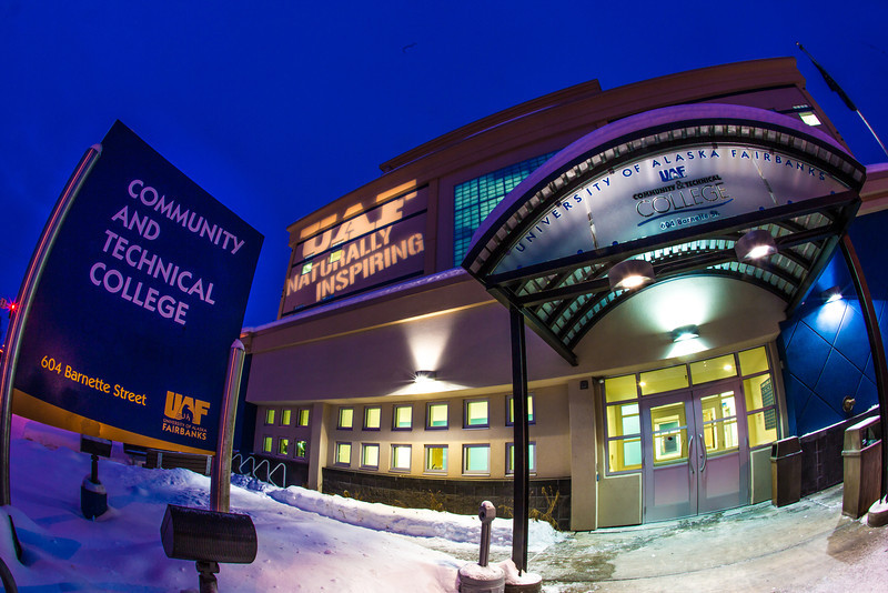 """UAF's Naturally Inspiring hashtag adorns the front wall of the Community and Technical College in downtown Fairbanks.  <div class=""""ss-paypal-button"""">Filename: CAM-13-3703-2.jpg</div><div class=""""ss-paypal-button-end"""" style=""""""""></div>"""