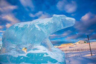 An ice sculpture of the Nanook mascot greets visitors to campus from its home in the roundabout.  Filename: CAM-13-3725-6.jpg