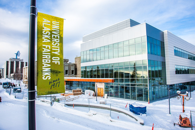 """New street banners help add color and a consistent branded message at various locations around the Fairbanks campus.  <div class=""""ss-paypal-button"""">Filename: CAM-13-3722-94.jpg</div><div class=""""ss-paypal-button-end"""" style=""""""""></div>"""