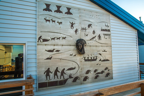 """A metal mural adorns the side of a building at UAF's Northwest Campus in Nome.  <div class=""""ss-paypal-button"""">Filename: CAM-16-4865-165.jpg</div><div class=""""ss-paypal-button-end""""></div>"""