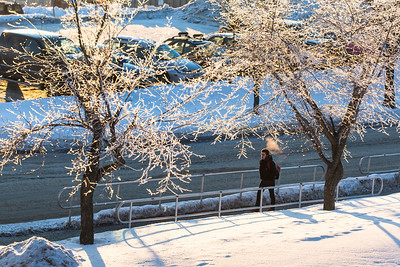 A student walks on campus during winter.  Filename: CAM-14-4051-23.jpg