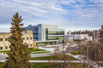 The Margaret Murie Building, home to the Department of Biology and Wildlife, is the newest addition to the UAF's campus.  Filename: CAM-13-3979-3.jpg