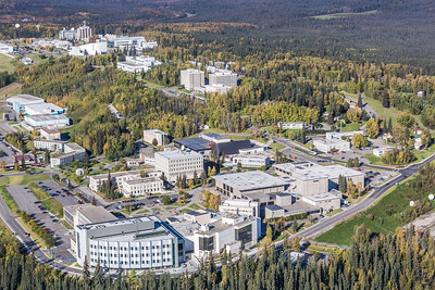 An aerial view of UAF looking northwest at about 11:15 on Sept. 10, 2016.  Filename: CAM-16-4992-077.jpg