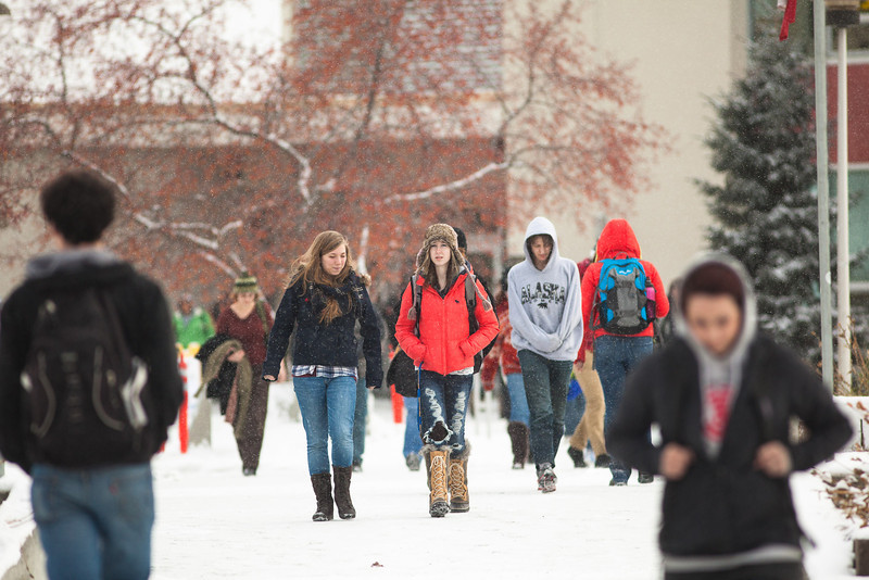 "Students leaving the Bunnell building encountered the first snowfall of the semester in mid-October.  <div class=""ss-paypal-button"">Filename: CAM-12-3589-78.jpg</div><div class=""ss-paypal-button-end"" style=""""></div>"