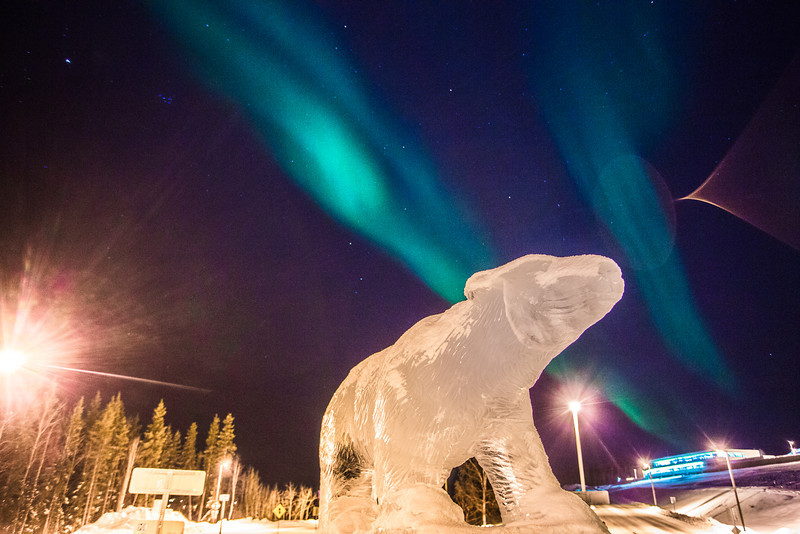 """The aurora borealis floats above the ice scultpure of the Nanook in the roundabout on the Fairbanks campus.  <div class=""""ss-paypal-button"""">Filename: CAM-13-3724-4.jpg</div><div class=""""ss-paypal-button-end"""" style=""""""""></div>"""