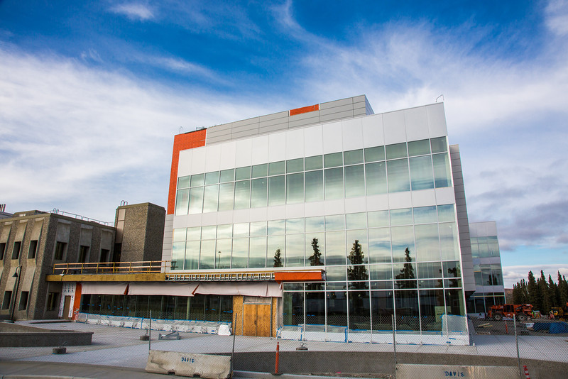 """The new Life Sciences building under construction on UAF's West Ridge.  <div class=""""ss-paypal-button"""">Filename: CAM-12-3569-02.jpg</div><div class=""""ss-paypal-button-end"""" style=""""""""></div>"""