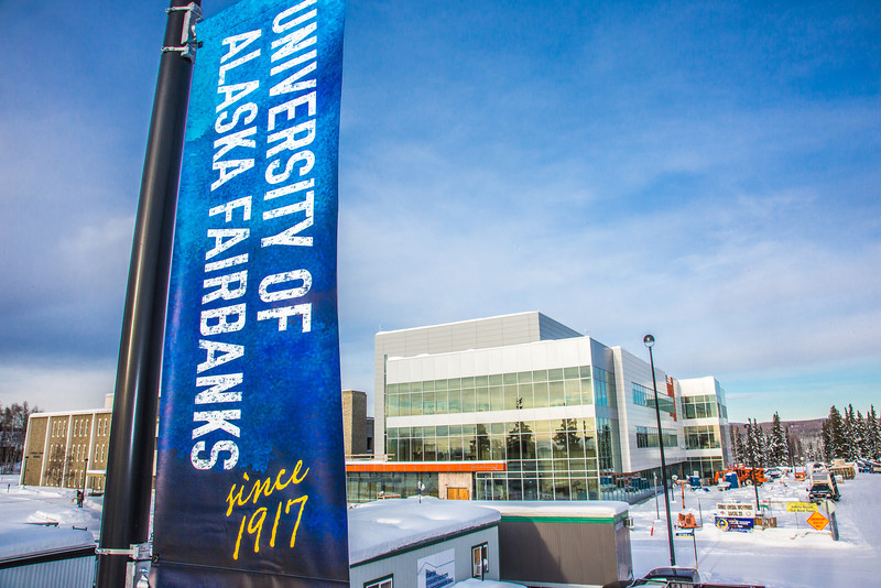 """New street banners help add color and a consistent branded message at various locations around the Fairbanks campus.  <div class=""""ss-paypal-button"""">Filename: CAM-13-3722-37.jpg</div><div class=""""ss-paypal-button-end"""" style=""""""""></div>"""
