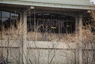 A late season snow falls on campus May 17.  Filename: CAM-13-3838-11.jpg