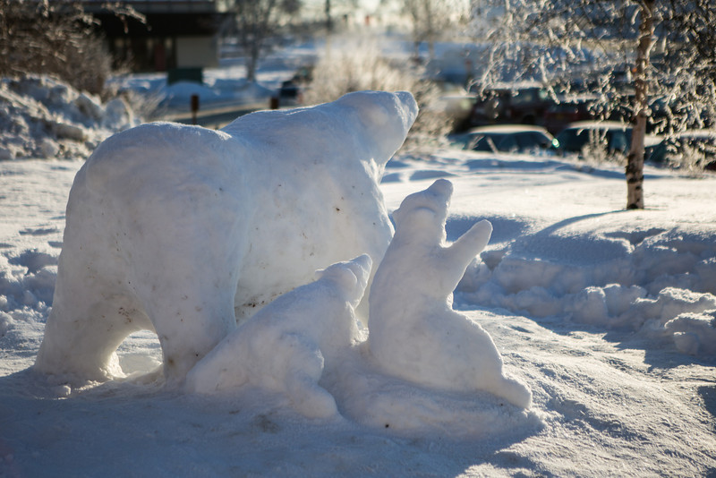 """""""Nanook Pride,"""" a transitory art installation sculpted by student Tux Seims, sits outside lower campus dorms.  <div class=""""ss-paypal-button"""">Filename: CAM-14-4052-76.jpg</div><div class=""""ss-paypal-button-end""""></div>"""