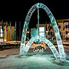 "The traditional ice arch stands lit up in Cornerstone Plaza on the UAF campus in February 2016. The arch, designed and built by students with UAF's College of Engineering and Mines, is a tradition that dates back almost 75 years.  <div class=""ss-paypal-button"">Filename: CAM-16-4817-11.jpg</div><div class=""ss-paypal-button-end""></div>"