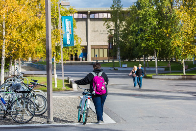 Returning students and families make their way around campus on a beautiful fall afternoon during Orientation Week at the start of the fall 2015 semester.  Filename: CAM-15-4638-066.jpg