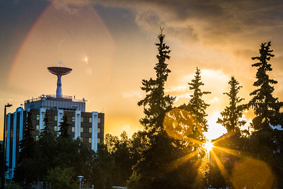 The sun sets over the Fairbanks campus on August 8, 2016.  Filename: CAM-16-4949-51.jpg
