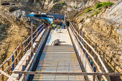 Construction workers complete upgrades to a new underground utilidor on the Fairbanks campus in the summer of 2012.  Filename: CAM-12-3491-14.jpg