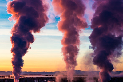 Steam rises from the UAF Power Plant on a cold November morning.  Filename: CAM-12-3663-36.jpg