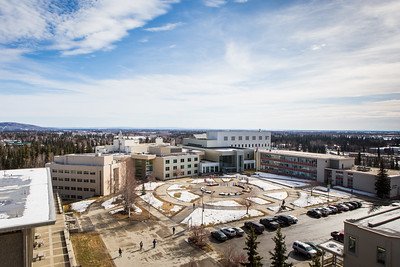 The spring view from the rooftop of the Gruening Building overlooking the Cornerstone Plaza.  Filename: CAM-16-4861-8.jpg