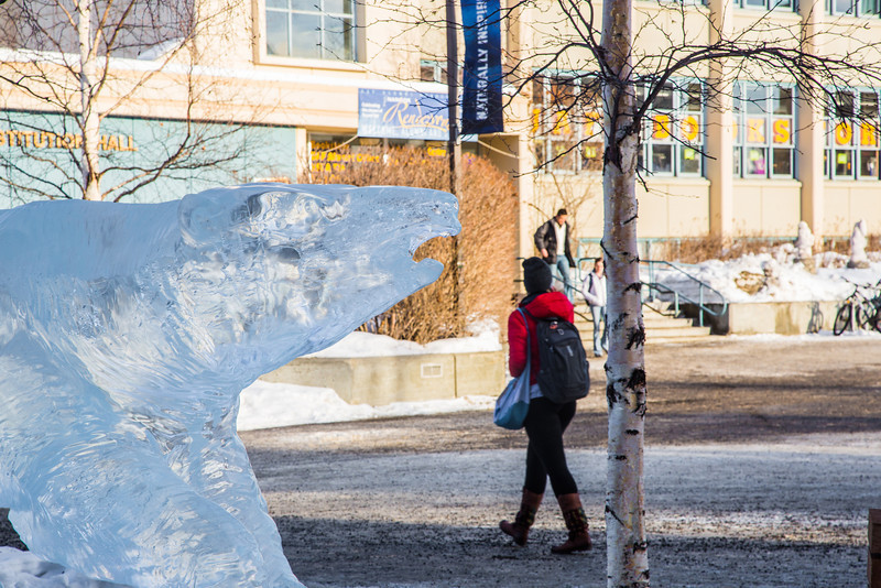 "A Nanook ice sculpture of appears to threaten pedestrians on the Fairbanks campus.  <div class=""ss-paypal-button"">Filename: CAM-14-4116-7.jpg</div><div class=""ss-paypal-button-end"" style=""""></div>"