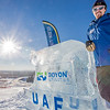 "Mark Oldmixon, director of UAF's Department of Recreation, Adventure and Wellness (DRAW) rests on an ice carving near the top of the Hurlbert Nanook Terrain Park on a bluebird February day on the Fairbanks campus.  <div class=""ss-paypal-button"">Filename: CAM-14-4088-3.jpg</div><div class=""ss-paypal-button-end"" style=""""></div>"