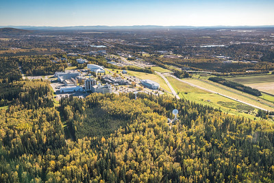 An aerial view of UAF looking east toward Fairbanks at about 11:25 a.m. on Sept. 10, 2016.  Filename: CAM-16-4992-105.jpg