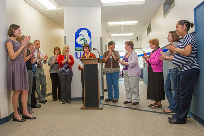 Staff and faculty with the Allied Health programs at UAF's Community and Technical College share in applause during an official ribbon-cutting ceremony on the 4th floor of CTC's building in downtown Fairbanks.  Filename: CAM-12-3507-12.jpg