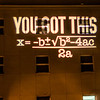 "An encouraging equation is projected onto the Chapman Building during finals week.  <div class=""ss-paypal-button"">Filename: CAM-13-4020-13.jpg</div><div class=""ss-paypal-button-end"" style=""""></div>"