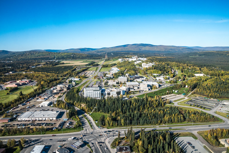 """An aerial view of UAF looking west at about 11:15 on Sept. 10, 2016, showing construction of the new combined heat and power plant being built adjacent to the existing unit which has been in use since the 1960s.  <div class=""""ss-paypal-button"""">Filename: CAM-16-4992-042.jpg</div><div class=""""ss-paypal-button-end""""></div>"""