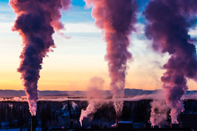 Steam rises from the UAF Power Plant on a cold November morning.  Filename: CAM-12-3663-25.jpg