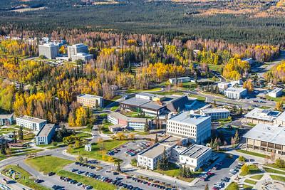 Aerial photo of the Fairbanks campus.  Filename: CAM-14-4311-262.jpg