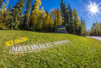 UAF's new brand tagline greets visitors to the west entrance to campus.  Filename: CAM-12-3539-15.jpg