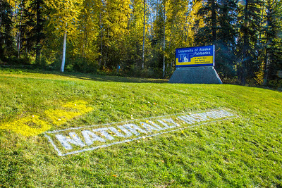 UAF's new brand tagline greets visitors to the west entrance to campus.  Filename: CAM-12-3539-33.jpg