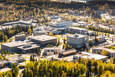 An aerial view of UAF looking southeast at about 11:15 on Sept. 10, 2016.  Filename: CAM-16-4992-053.jpg