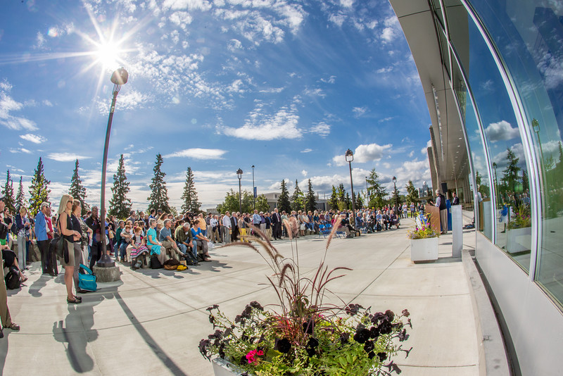 "A big crowd turned out for the official ceremony dedicating the Margaret Murie Building on UAF's West Ridge.  <div class=""ss-paypal-button"">Filename: CAM-13-3912-030.jpg</div><div class=""ss-paypal-button-end"" style=""""></div>"