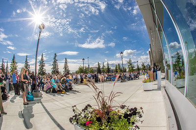 A big crowd turned out for the official ceremony dedicating the Margaret Murie Building on UAF's West Ridge.  Filename: CAM-13-3912-030.jpg