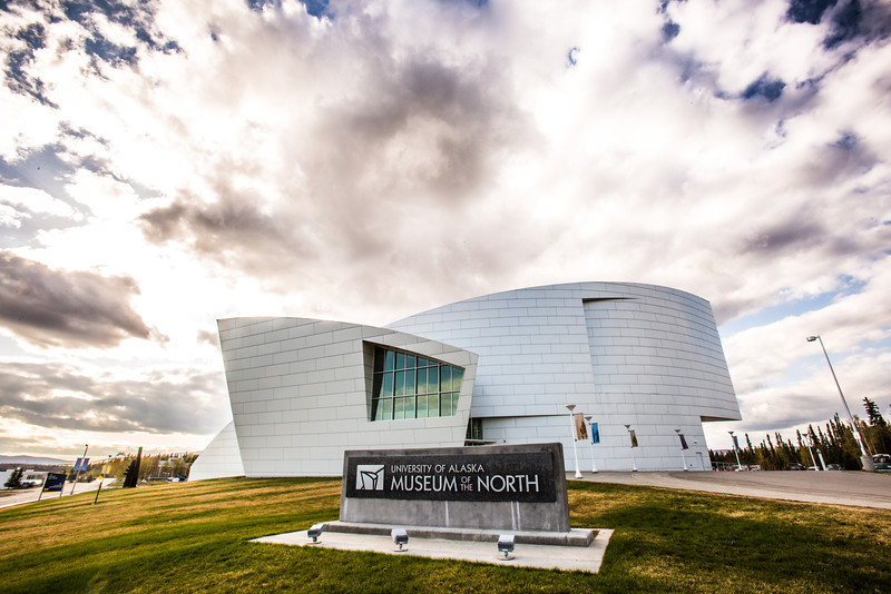 """The University of Alaska Museum of the North contrasts against a dramatic sky on a nice evening in early May.  <div class=""""ss-paypal-button"""">Filename: CAM-14-4185-29.jpg</div><div class=""""ss-paypal-button-end"""" style=""""""""></div>"""