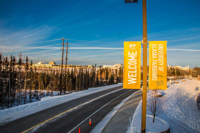 """Banners posted along Thompson Drive welcome people to campus.  <div class=""""ss-paypal-button"""">Filename: CAM-12-3633-48.jpg</div><div class=""""ss-paypal-button-end"""" style=""""""""></div>"""