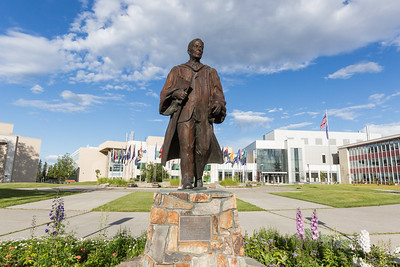 The statue of Charles Bunnell is a prominent landmark on the Fairbanks campus.  Filename: CAM-16-4929-11.jpg
